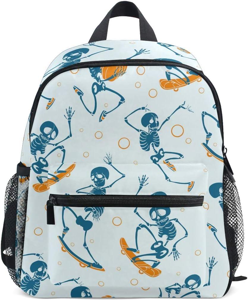 Weird Skull on Fire Print Skeleton Canvas Rucksack Kids Boy Girl School Backpack