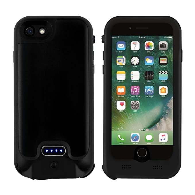 free shipping c2d5d b7aef iPhone 8/7/6 Battery Case Waterproof (IP65 Certified), NOVPEAK 3200mAh  Support Wireless Charging Cover Built-in 3.5mm Earphone Jack Rechargeable  ...
