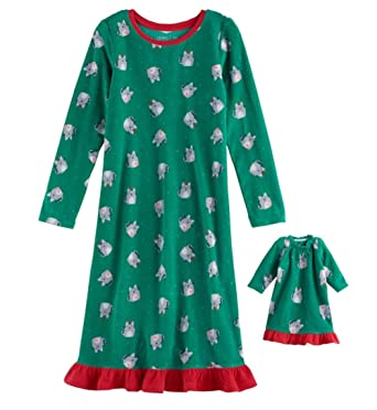 afe46f828a Jammies For Your Family Little Girls  Holiday Fleece Nightgown with  Matching 18 inch Doll Pajamas