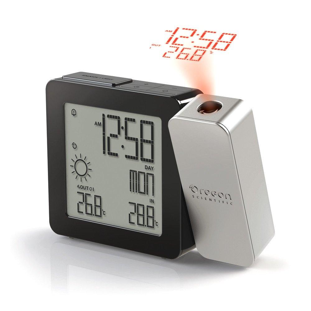 Oregon Scientific PROJI Radio Controlled Projection Clock with Weather Forecast plus Indoor/Outdoor Temperature (Silver)