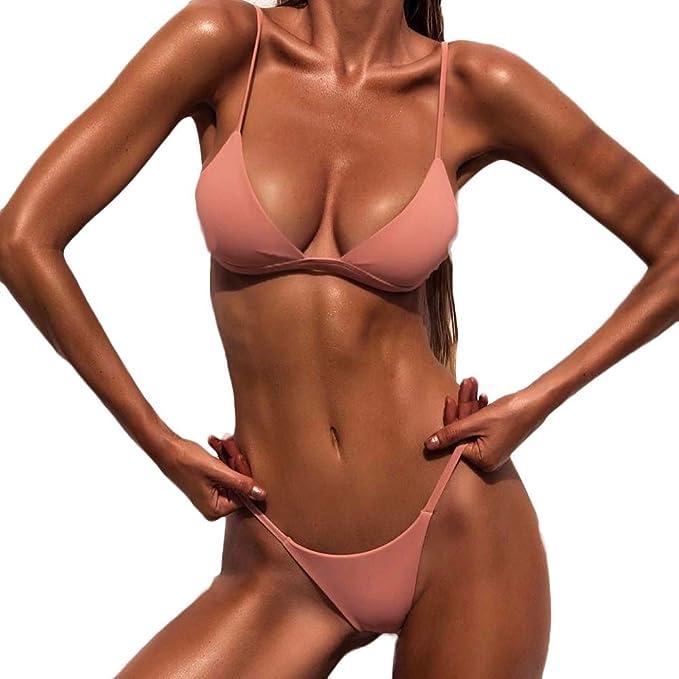 e6e37de5f9 LianMengMVP Costume da Bagno Bikini Set Estate Mutande Costume da Bagno  Spingere Verso l'Alto Costumi da Bagno Donne Bikini Set Push-up Imbottito  balneare ...