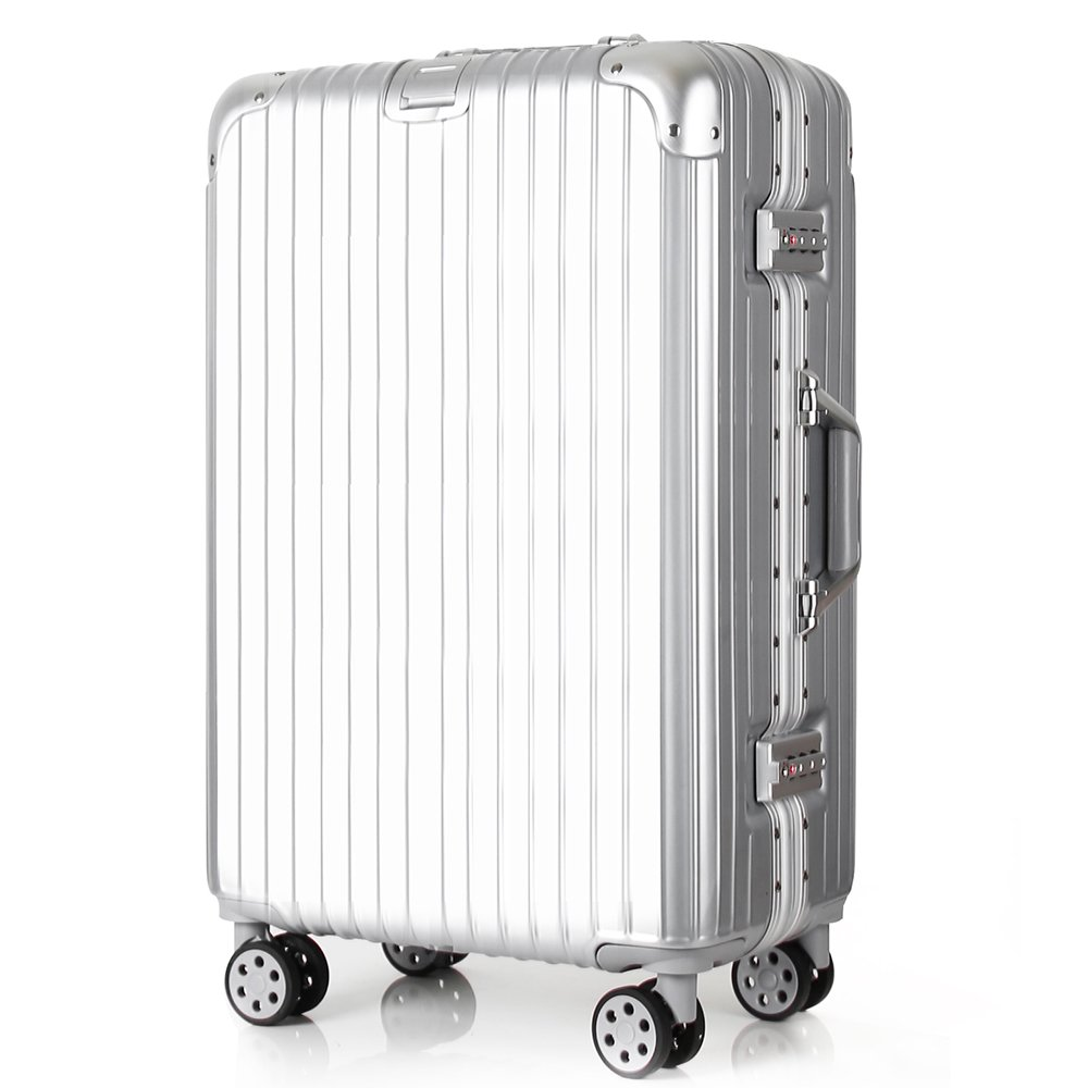 Travel luggage Aluminum Frame Light Weight ABS PC Hardshell 360 roller Suitcase Security TSA Locks fit Business Family International Trips 28 inch Silver