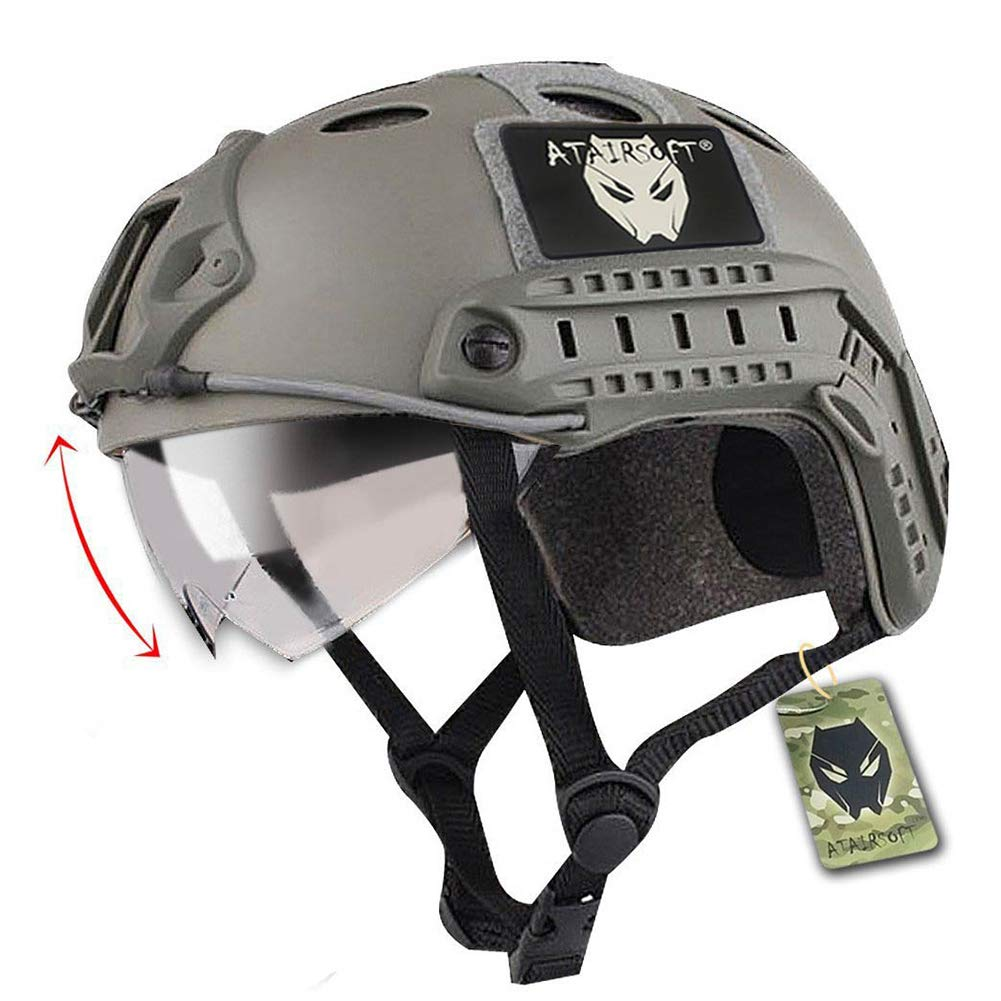 ATAIRSOFT PJ Type Tactical Fast Helmet with Visor Goggles Version FG