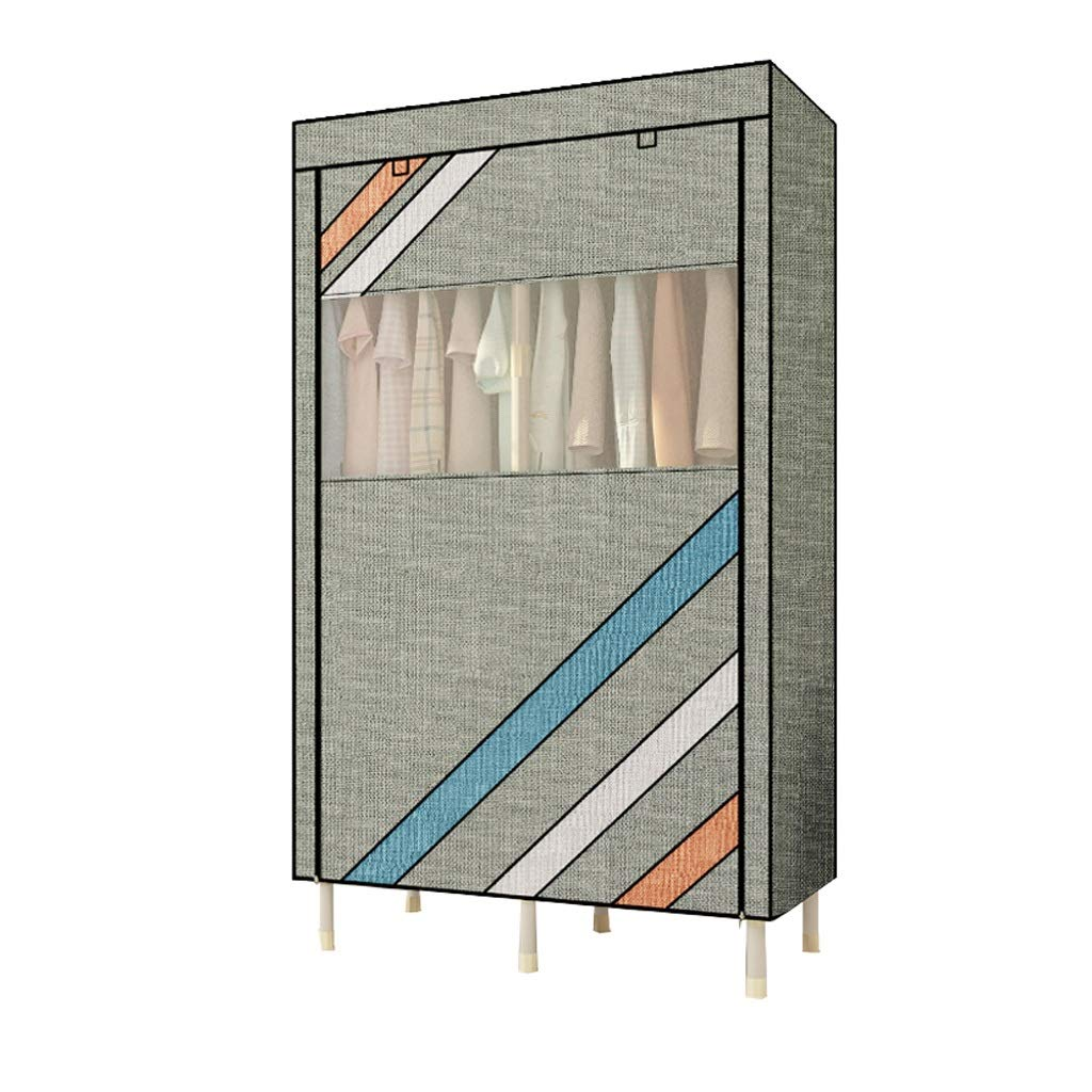 Barir Simple Wardrobe Thick Steel Pipe Cloth Wardrobe Simple Modern Fabric Steel Frame Assembly, Single Wardrobe Storage Cabinet, Environmentally Friendly Fabric, 19010550cm (Color : B) by Barir