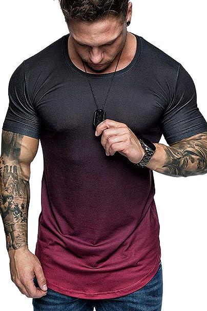 Men/'s Summer Slim Fit Irregular Hem Short Sleeve Muscle Tee T-shirt Tops Party