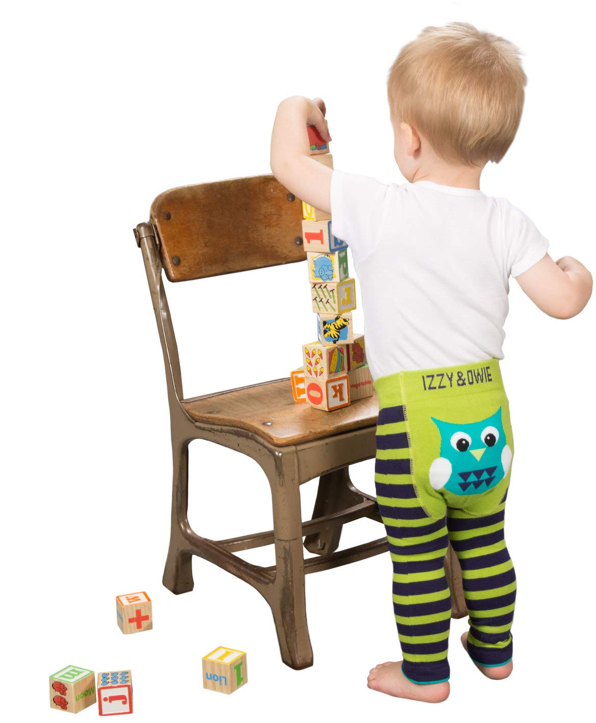 Izzie and Owie Baby Leggings 12-24 Months, Green and Navy: Owl