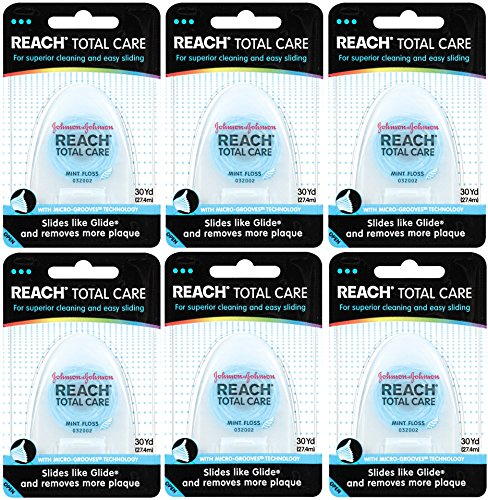 Reach Total Care Floss, Mint, 30-Yard Dispensers (Pack of 6) For Sale