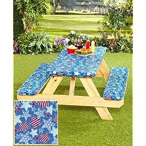 3-Pc. Picnic Table Covers (Americana Stars) (1, TAN)