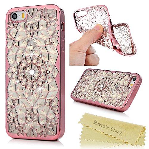 iPhone 5S Case,iPhone 5 Case,iPhone SE Case,Mavis's Diary 3D Handmade Bling Crystal Rhinestone Diamond Flower Mesh Pattern Shockproof TPU Rubber Case - Rose Gold