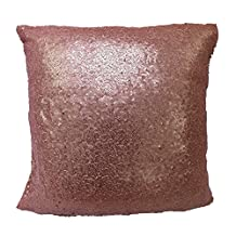 TRLYC 18x18 Inch Home Decor Solid Sequin Pillow Cover Glitter Sequin Pillow Case-Blush
