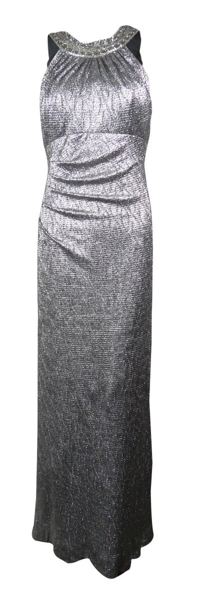 Xscape Women's Beaded Metallic Full Length Dress (4, Black/Silver)
