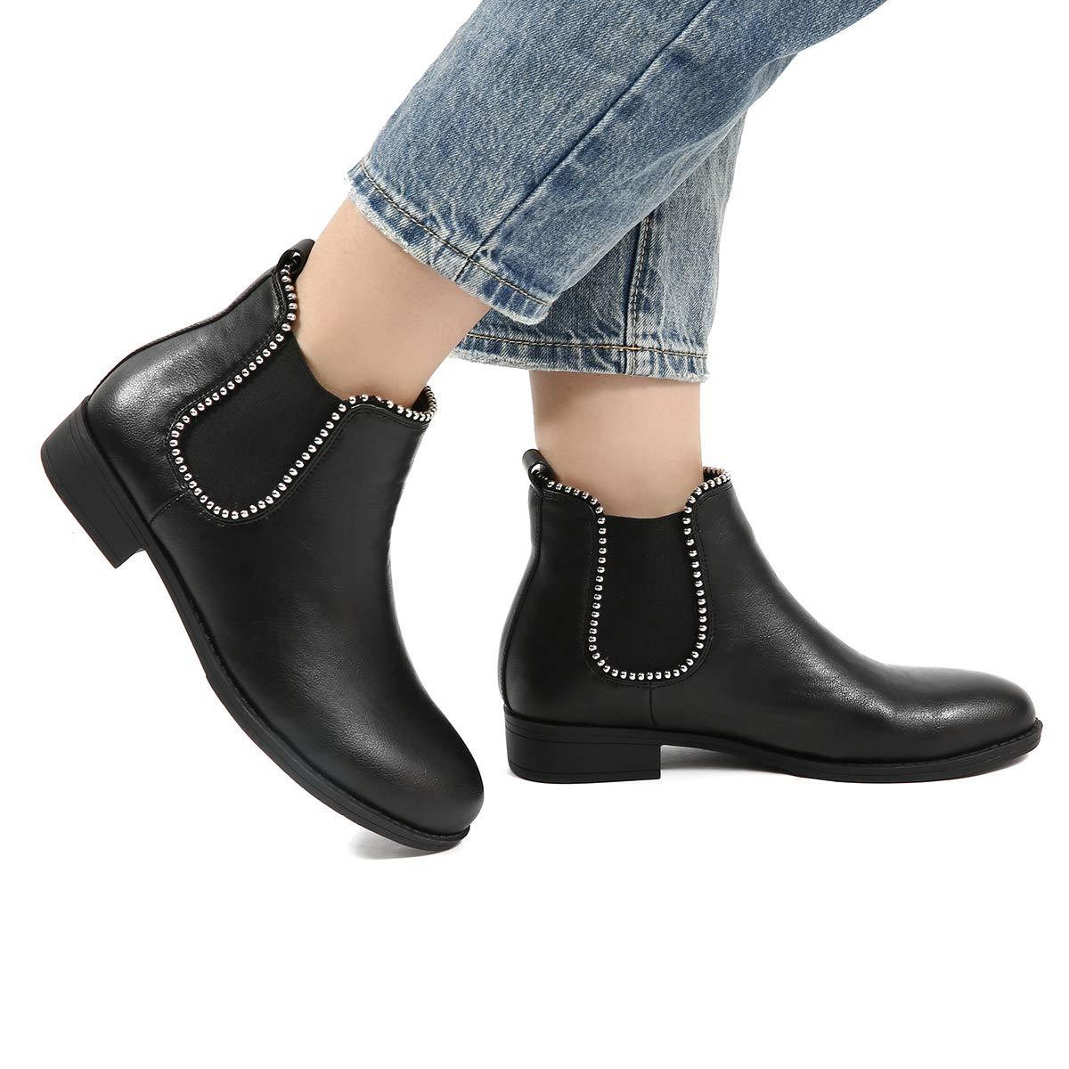 9a8edf862dd6b Gracosy Bottines Hiver Femmes, Chaussures Plates Ville Talons Plats Boots  Chelsea Printemps Fourrure Bottes de