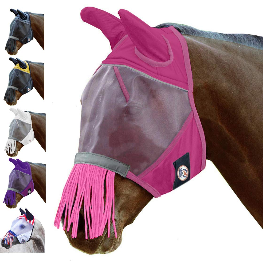 Derby Originals Reflective Fly Mask with One Year Warranty - with Ears and Nose Fringe by Derby Originals
