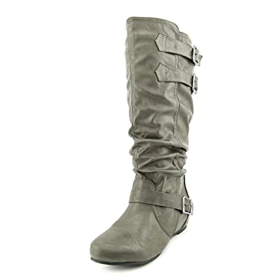 f38c97e6b73 Women s  Tiffany  Regular and Wide-Calf Buckle Slouch Low-Wedge Boot Wide  Grey Wide 9