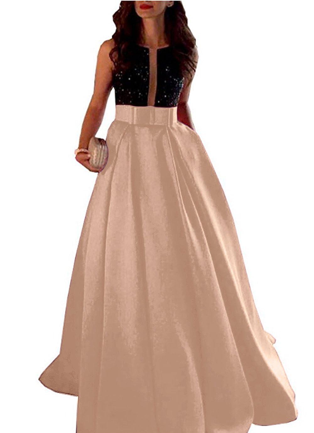 Champagne CL Bridal Women's Beaded Rhinestones Backless Formal Prom Dress Aline Evening Dress