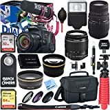 Canon EOS Rebel T7i Digital SLR Camera Video Creator Kit + EF-S 18-55mm IS STM & 70-300mm Dual Lens Accessory Bundle