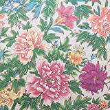 ℳ Perfect Pink Peonies Large Blossoms By Arline Sumida for 5th Avenue Design Cotton Vintage Home Decor 54 inch FC12231 Fabric By the Yard (F.E.)