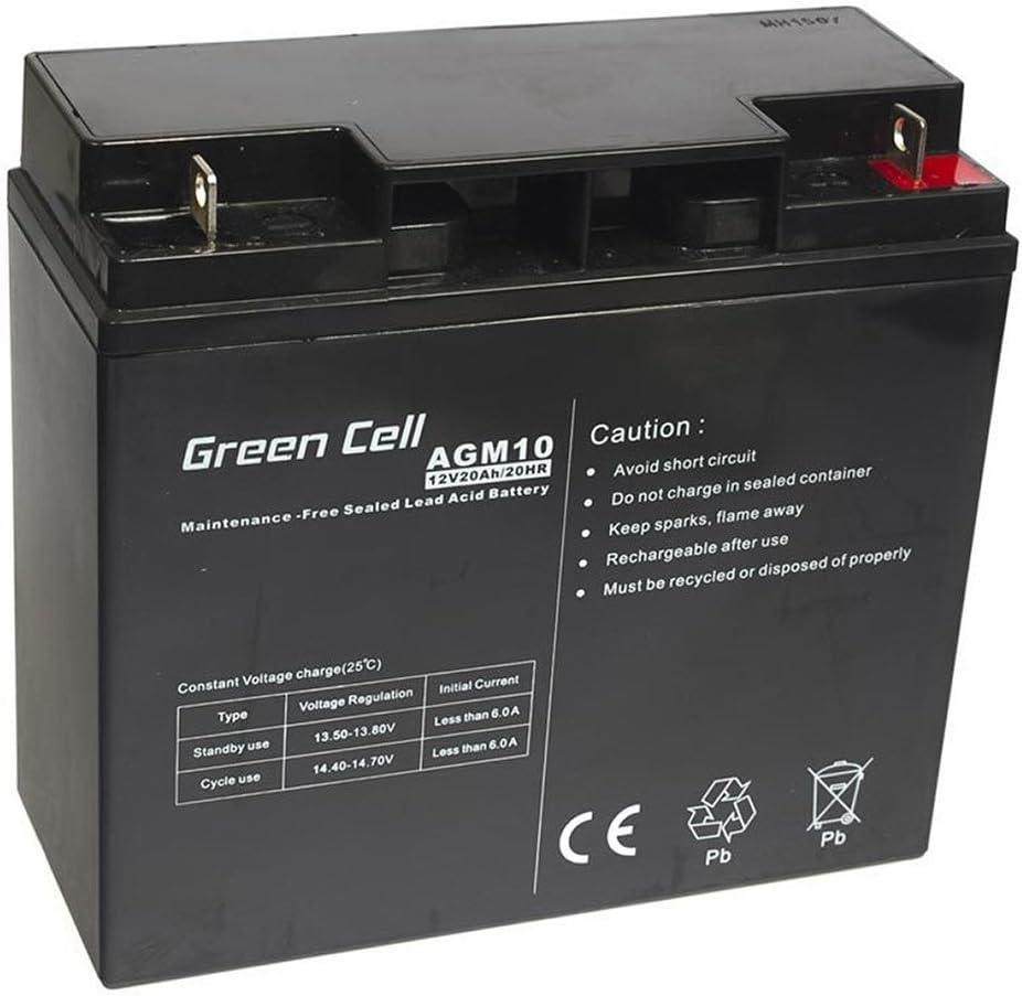 Green Cell® Recambio de Batería AGM (12V 20Ah VRLA Faston F2) Pila sellada de Plomo Acido Recargable Sealed Lead Acid VRLA para alarmas de hogar, Juguetes electricos, Sistemas UPS USV, Solarpanel