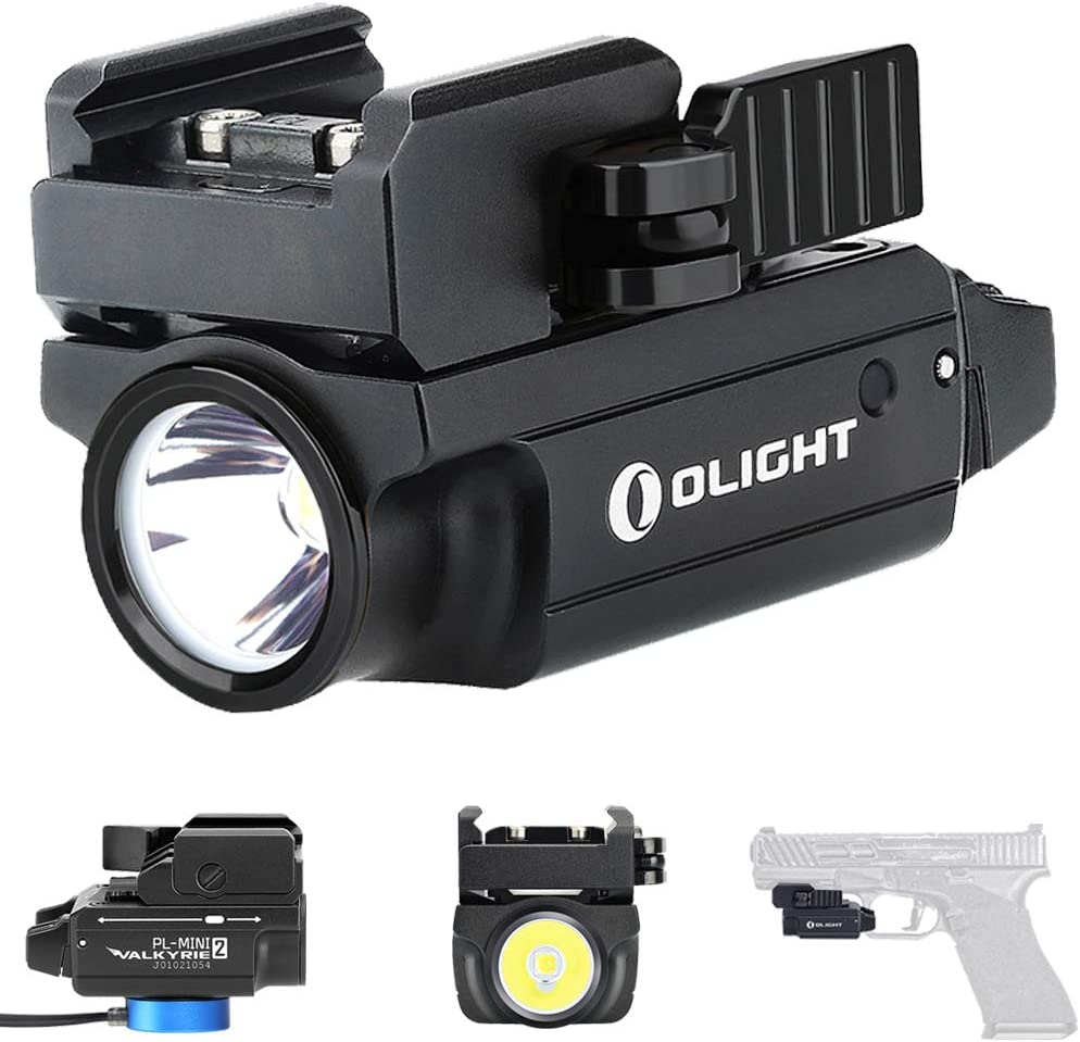 Olight PL-Mini 2 Valkyrie 600 Lumens CW LED Tactical Flashlight Magnetic Rechargeable with Adjustable Rail,Powered by a Built-in Polymer Battery, with SKYBEN Battery Case