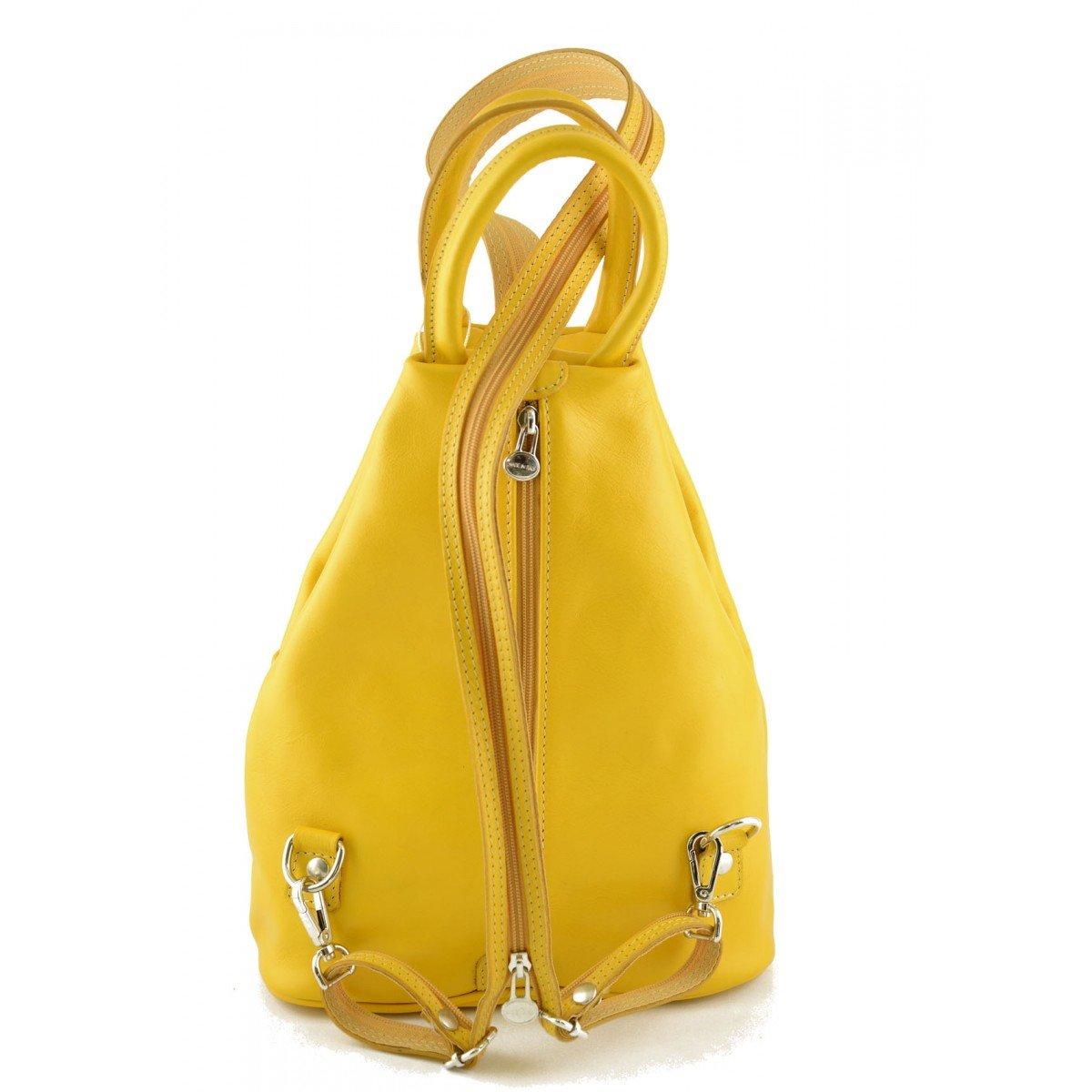 9beb6e078 Bolso De Espalda Para Mujer En Piel Verdadera Con Bandoleras Ajustables  Color Amarillo - Peleteria Echa En Italia - Bolso Espalda: Amazon.es:  Zapatos y ...