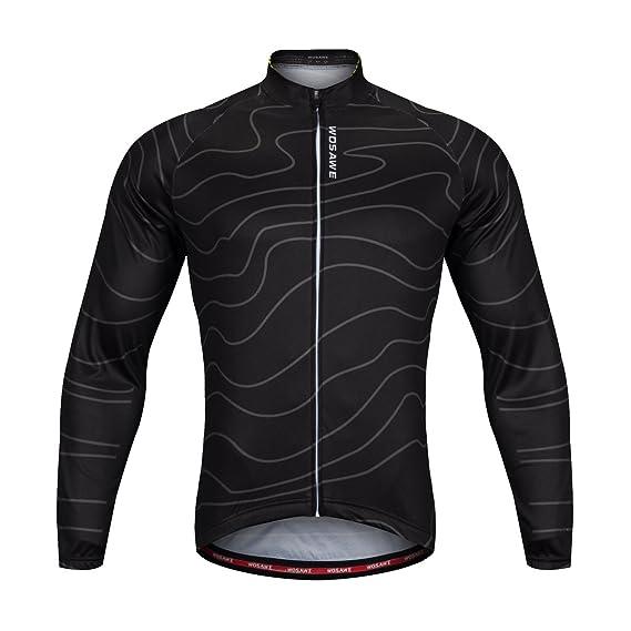 WOSAWE Men s Cycling Soft Shell Long Sleeve Racing Bike Shirts ... 9d124bd6c
