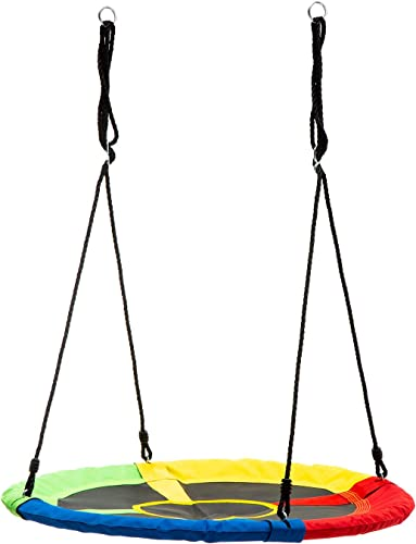 wonline 40 Flying Saucer Tree Swing, 330lb Weight Capacity, Indoor Outdoor Round Mat Swing for Kids