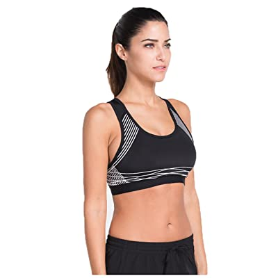 1Bests Women Racerback Sports Bras Seamless Support Stripe Printed Yoga Running Bra