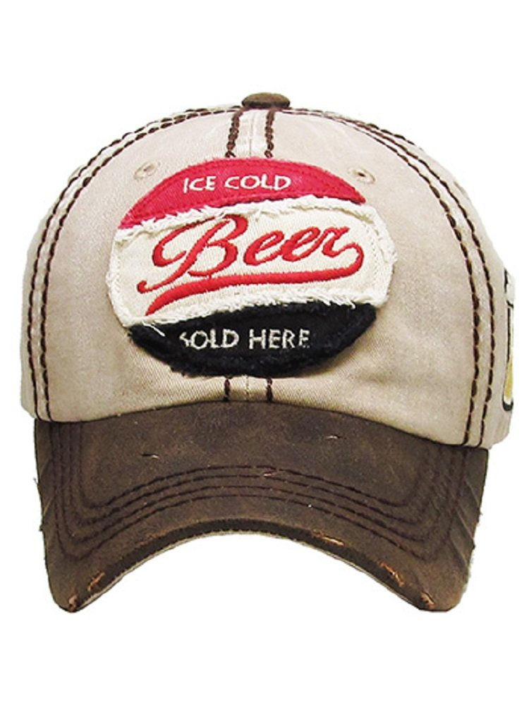 Ice Cold Beer Sold Here Khaki Washed Ball Cap.