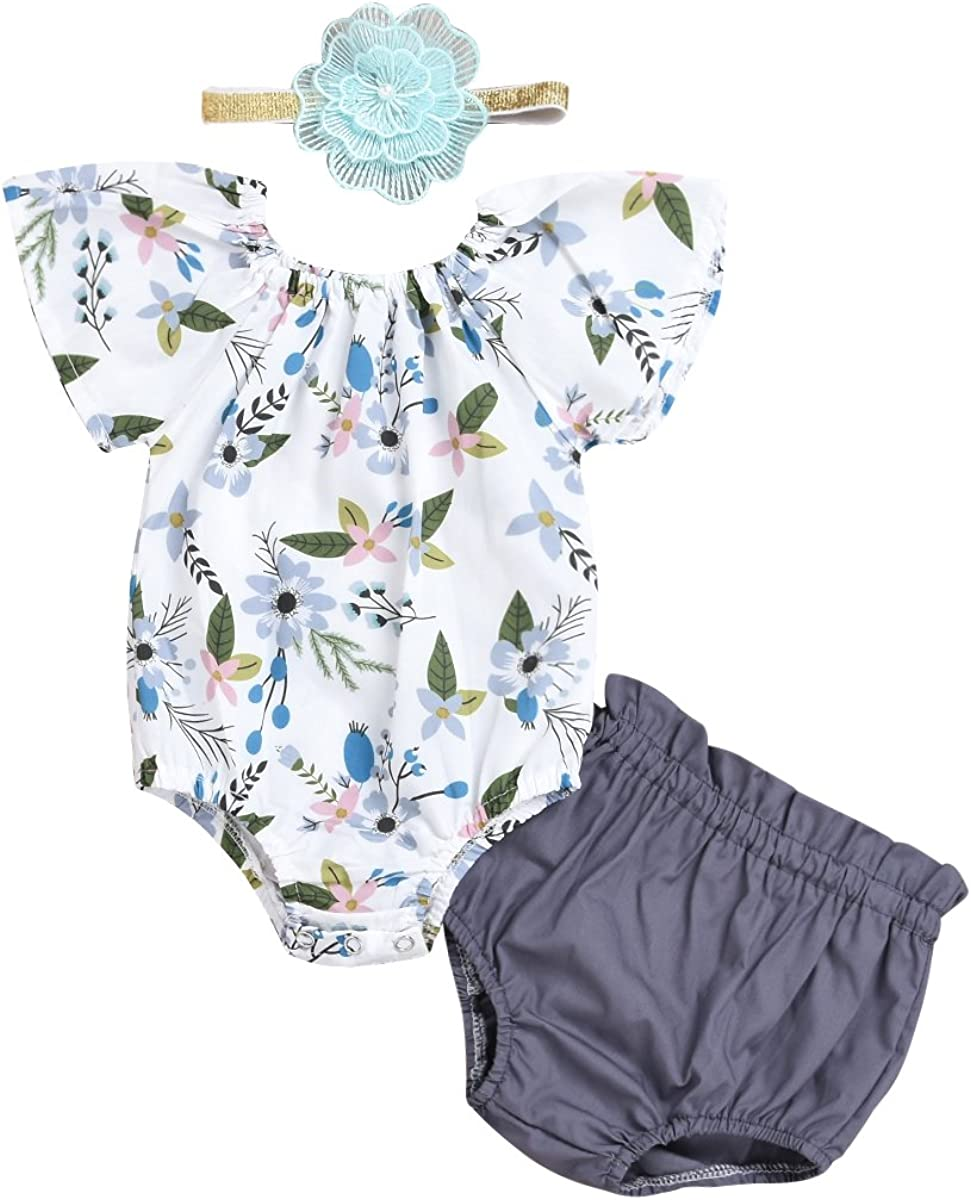 Toddler Baby Girls Floral Romper Clothes Bodysuit Jumpsuit Shorts Pant with Headband 3PCS Outfits Set