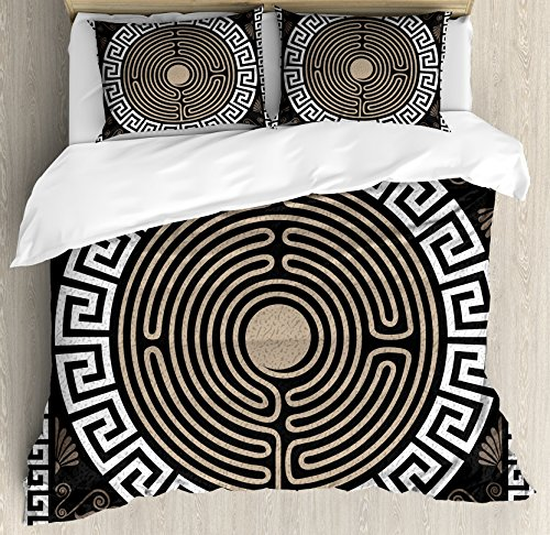 - Ambesonne Greek Key Duvet Cover Set King Size, Grecian Fret and Wave Pattern on Dark Background Antique Retro Swirls, Decorative 3 Piece Bedding Set with 2 Pillow Shams, Dark Brown Coconut Tan