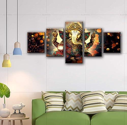 BLINFEIRU Hindu God Ganesha Wall Art