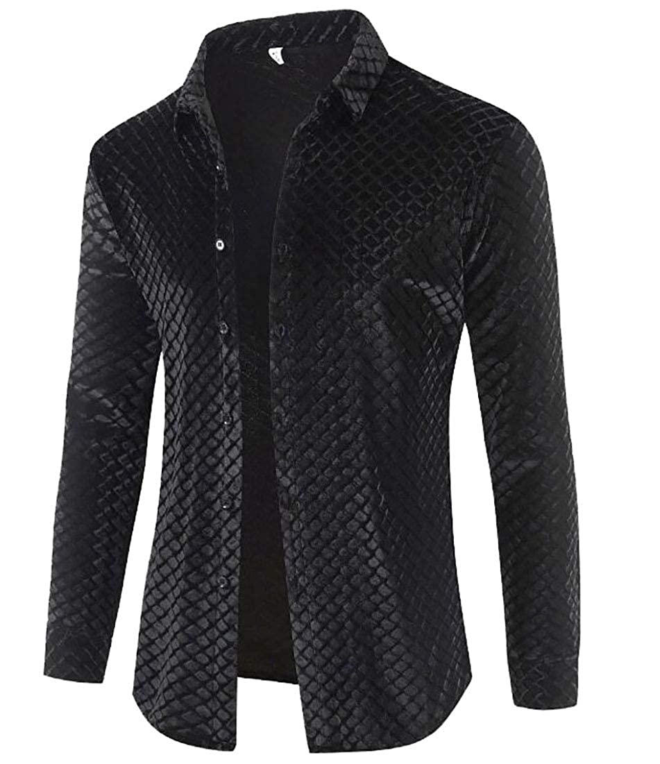BYWX Men Velvet Long Sleeve Checkered All Regular Fit Button Down Shirt Black US S