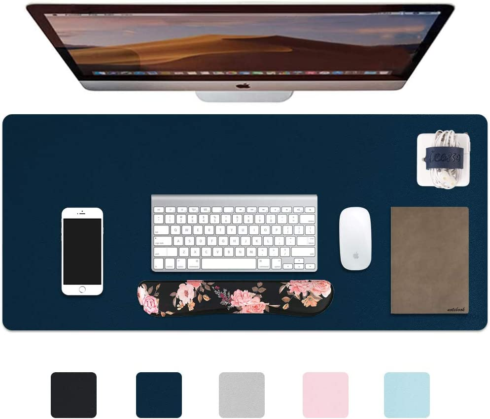 """iCasso Desk Pad, Waterproof PU Leather Desk Blotter Protector Mouse Pad, Smooth Surface Desk Mat, Large Durable Desk Writing Pad for Work, Game, Office, Home Accessories - 35.4"""" x 15.7"""" - Navy Blue"""