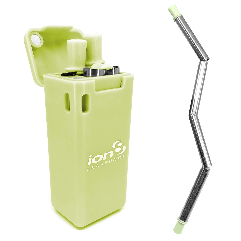 Ion8 con custodia da viaggio Green Cannuccia pieghevole riutilizzabile in acciaio INOX per uso alimentare