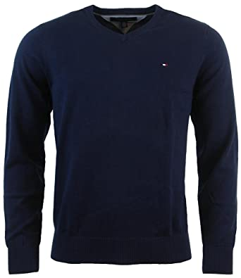 4bbe0c2846bc80 Tommy Hilfiger Men's V-Neck Long Sleeve Pacific Pullover Sweater at Amazon  Men's Clothing store: