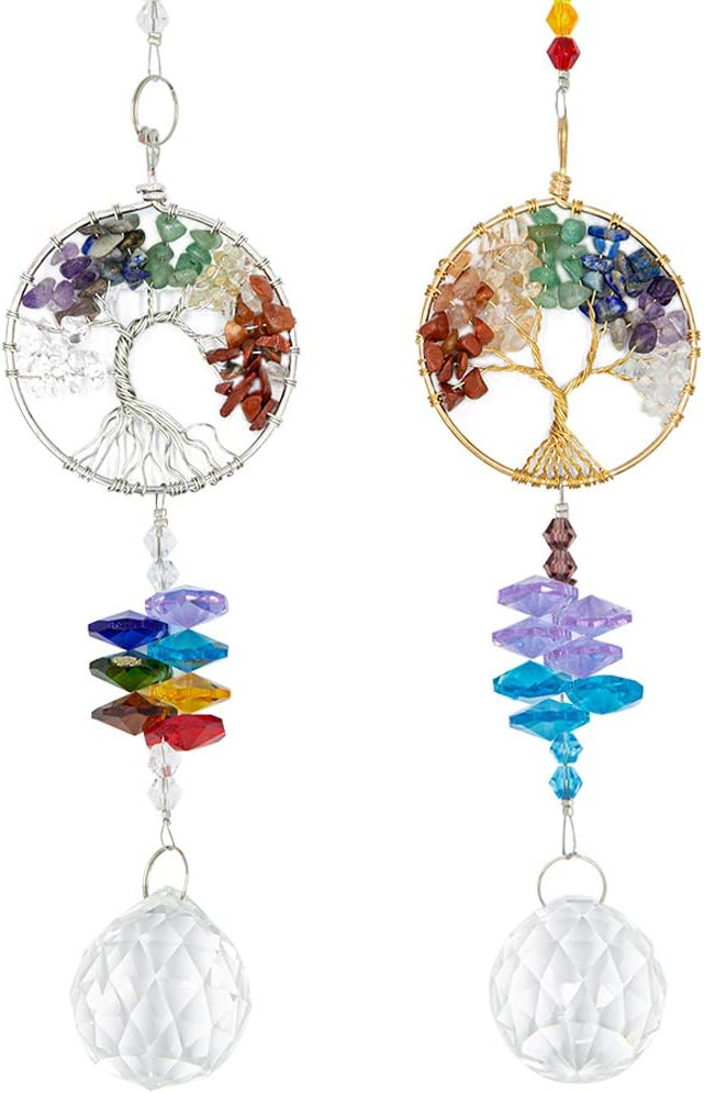 2 Packs Hanging Crystals Suncatcher - Life Tree Crystal Pendant Rainbow Crystal Ornament Crystal Ball Prism Chakra Crystals for Window, Garden, Home Decoration