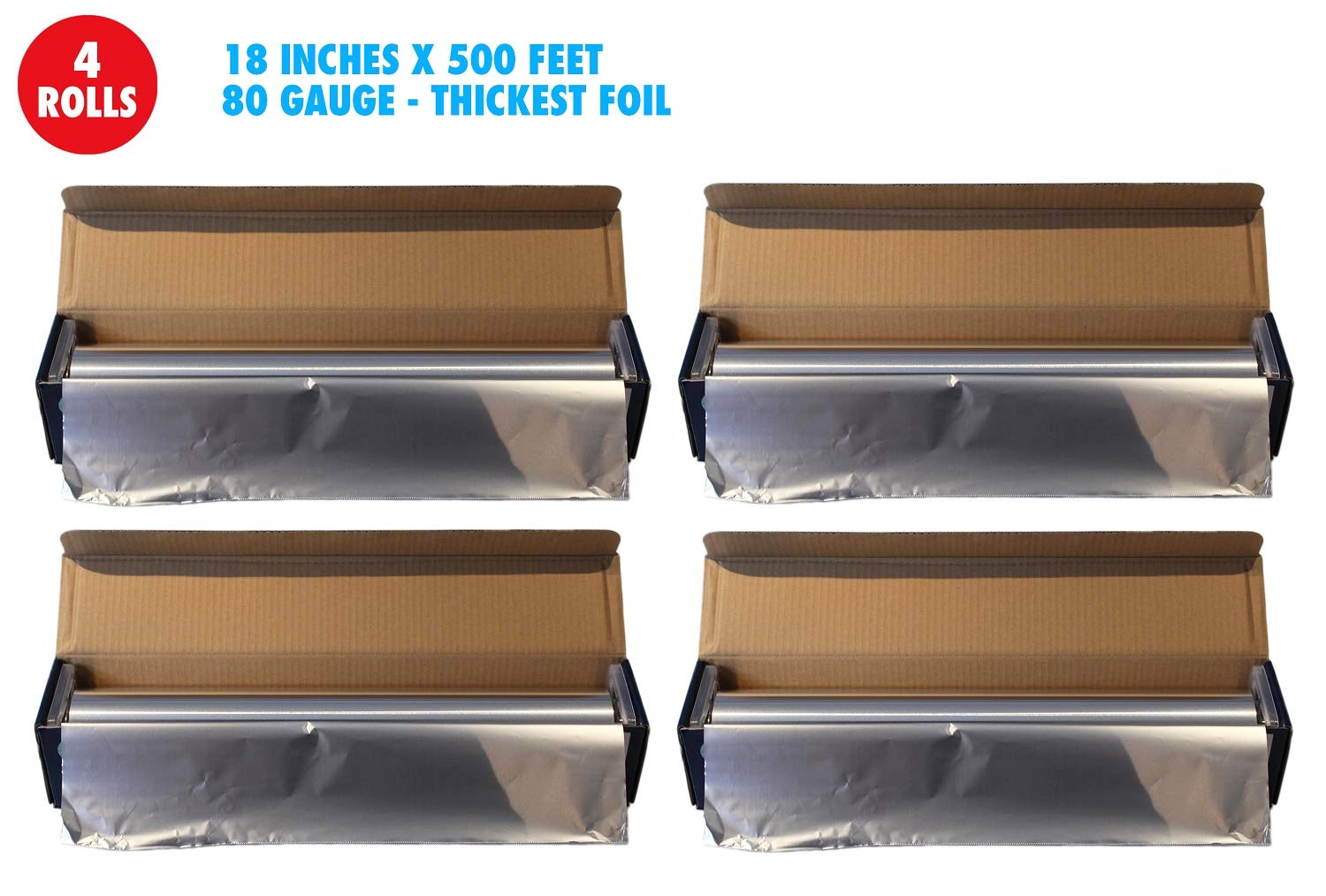 Heavy Duty Aluminum Foil, 18 Inches X 500 Feet, Commercial Industry Grade, Food Service, Wrap, Bulk Thick Super Heavy Duty Roll (4-Pack)