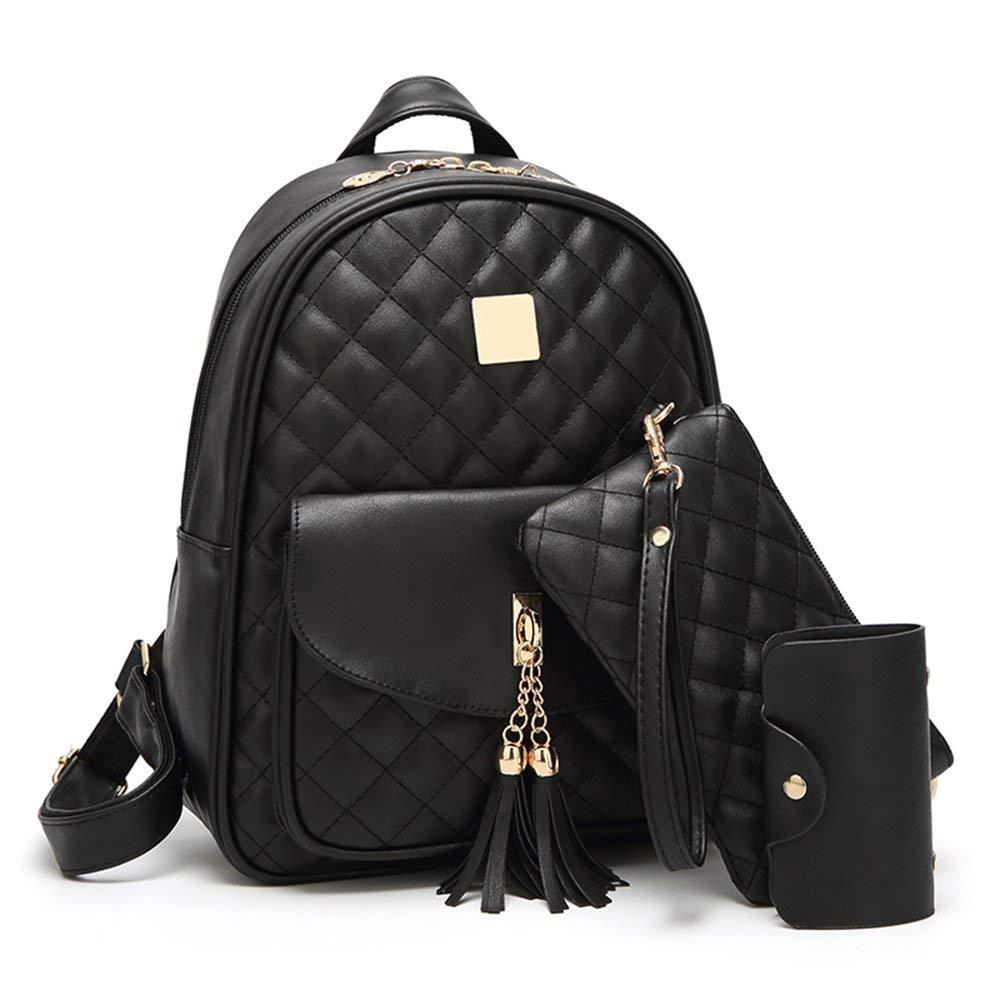 Beylasita® Damen Tasche Set Daypack 3 in 1 PU Rucksack Backpack mit Clutch Geldbörse Kartenetui Schwarz