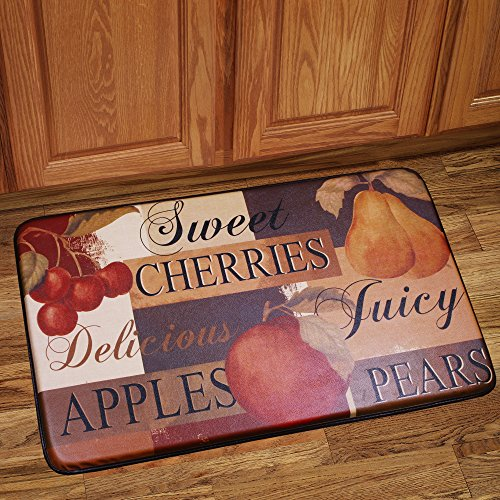 Sweet Home Collection Memory Foam Anti Fatigue Chef Design Kitchen Floor Mat Rug, Fruit, 30