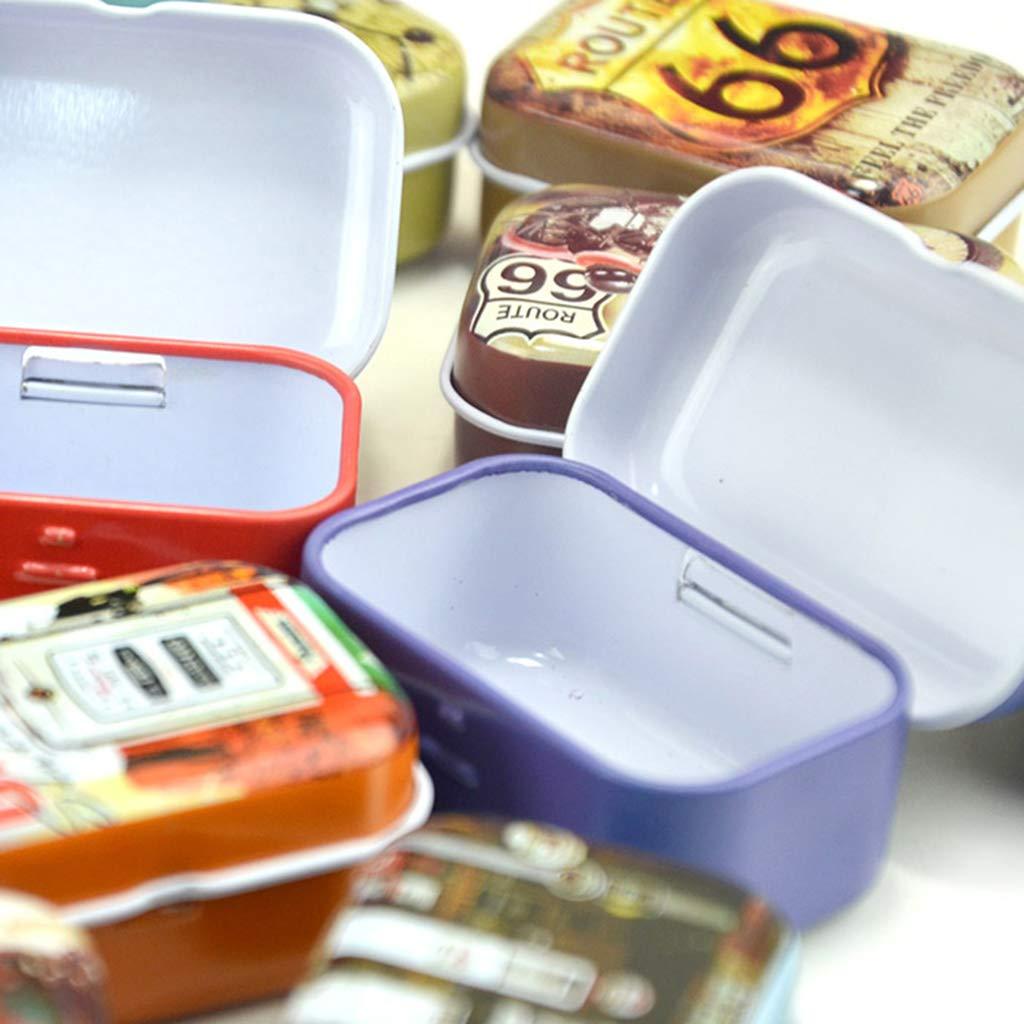 Wuweiwei12 monete rossetti e rossetti rettangolari caramelle Mini scatola di latta per gioielli