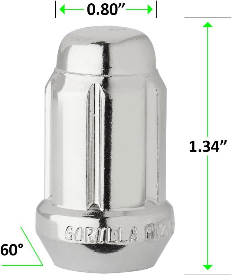 "1//2/""-20 4 Black Spline Drive//Tuner Locking Lug Nuts//Wheel Locks Dual Hex"