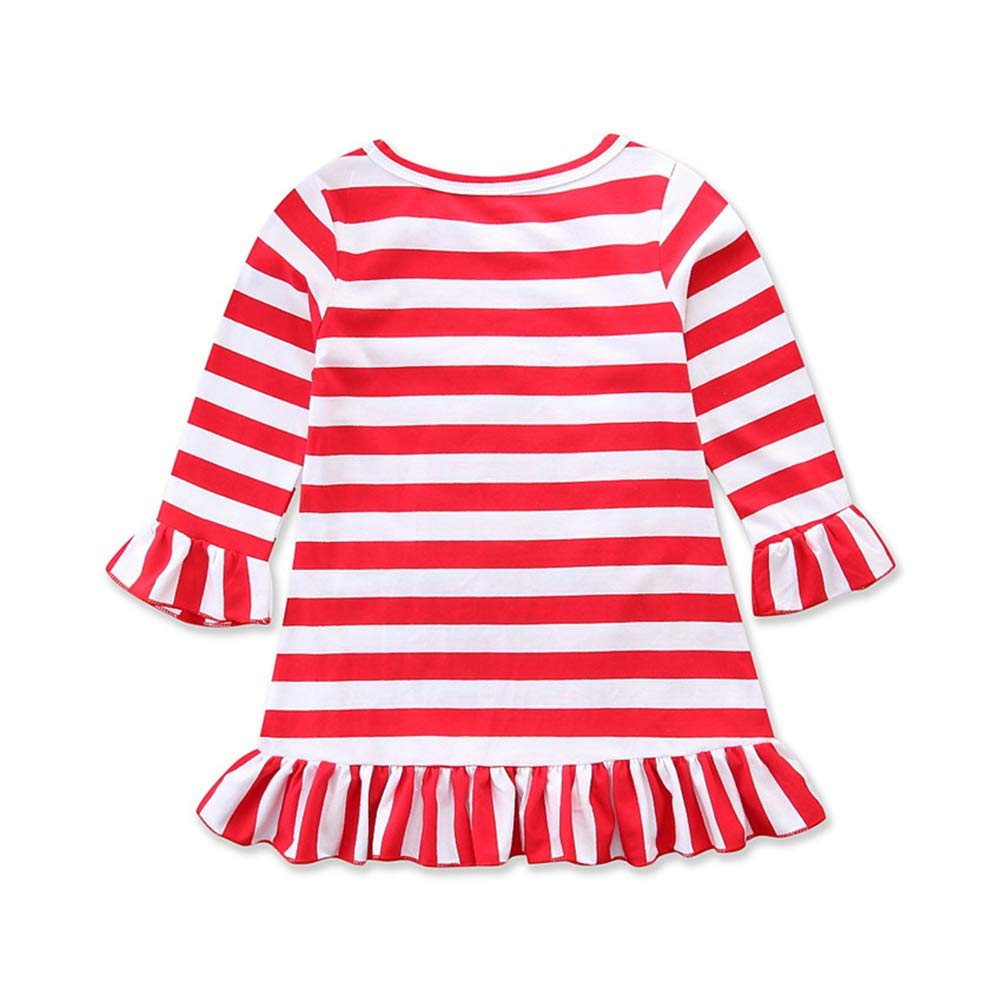Wassery Christmas Girl Dress Infant Baby Girl Reindeer Long Sleeve Striped Dresses Casual Xmas Skirt