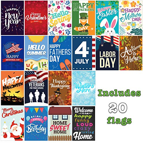 Seasonal Garden Flags Set | 20 Pack Assortment of 12-inch x 18-inch Flags | Double-Sided, Polyester, Durable (Seasonal Flags Set Garden)