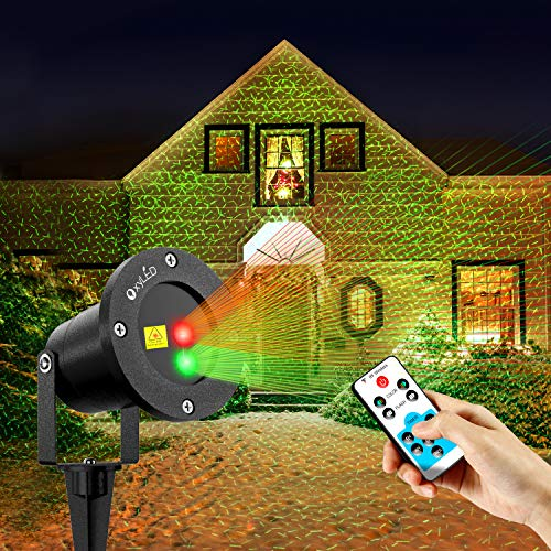 OxyLED Outdoor Christmas Projector Lights, RG Landscape Projector Light with Remote Controller for Holiday Parties/Disco / Halloween/Christmas Decoration -