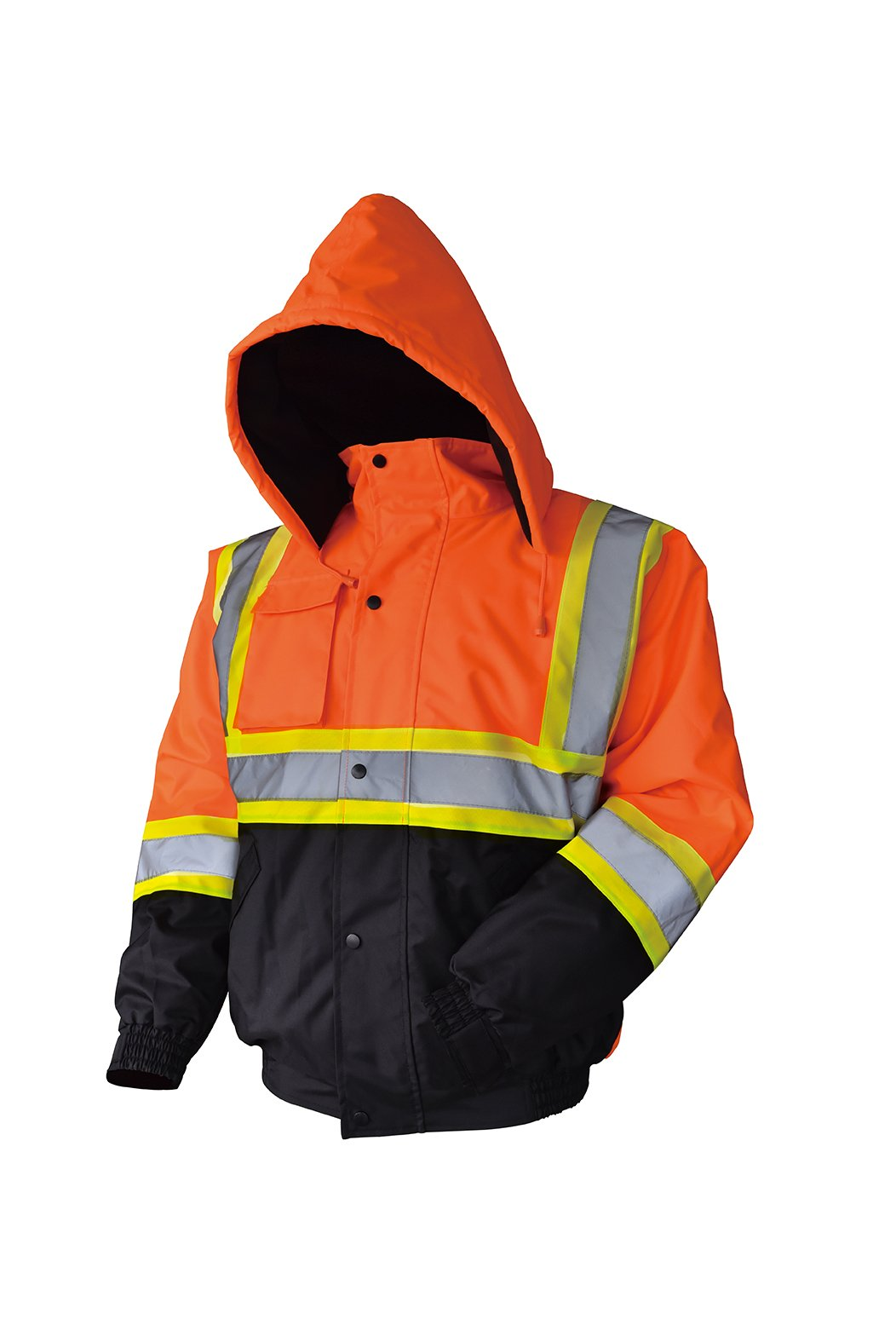 LM High Visibility Class III Reflective Waterproof Bomber Jacket W/Removable Hood (3XL, Orange)