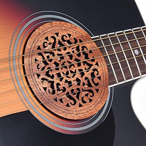 ammoon Guitar Wooden Soundhole Sound Hole Cover Block Feedback Buffer Mahogany Wood for EQ Acoustic Folk Guitars