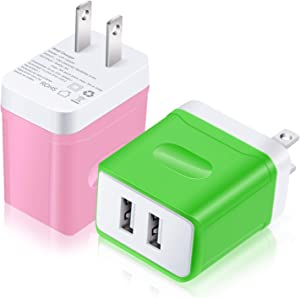 USB Charger, Costyle 2 Pack 3.1 Amp 5V Dual 2 USB Port Home Travel Charging Block Compatible iPhone Xs Max XR X 8 Plus se, iPad Pro Samsung Galaxy s9 s8 Plus s7 Edge J7, OnePlus 6 (Green, Pink)