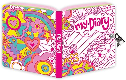 Peaceable Kingdom Rainbow World Color-In Shiny Foil Cover 6.25 Lock and Key, Lined Page Diary for Kids