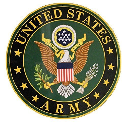 Army Military Logo Aluminum Metal Sign - US Service Branch Home Wall Decor (Sign Decor Metal)