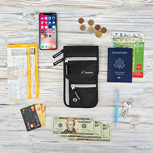Passport Holder - Travel Wallet - Travel Pouch - Neck Wallet - Travel Money Belt - Hidden Wallet